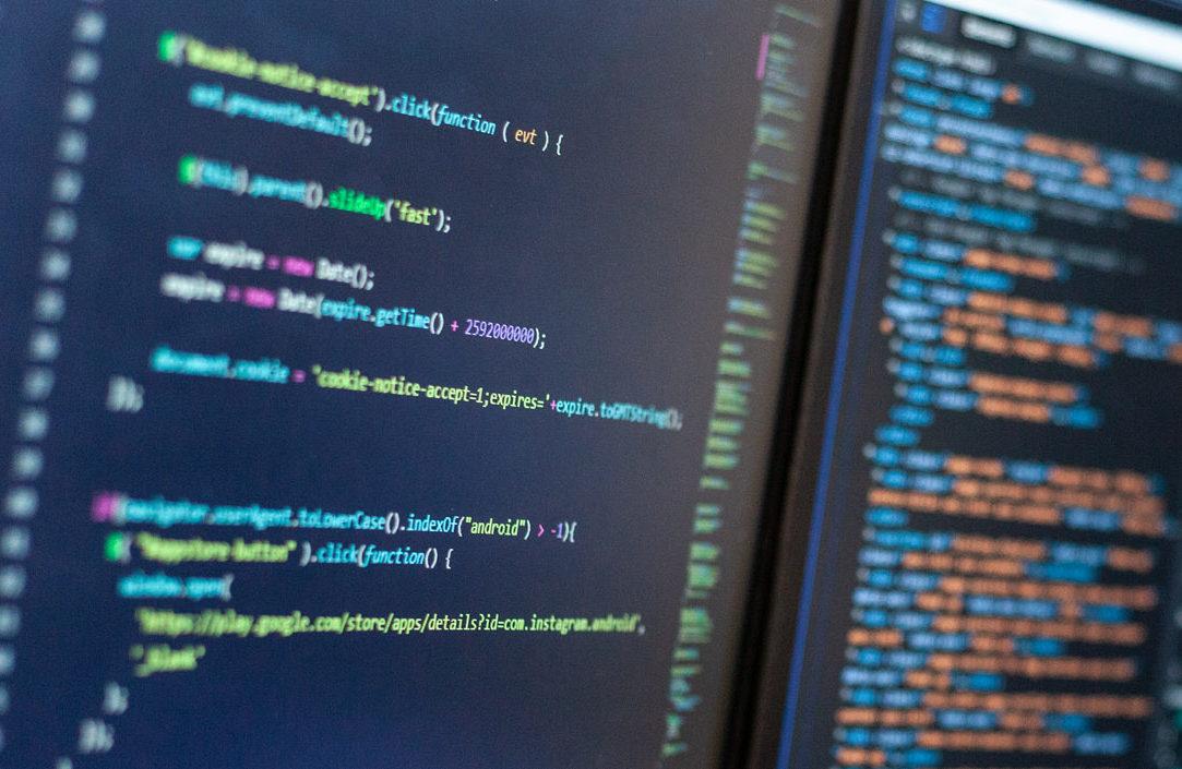 Computer code development on a screen