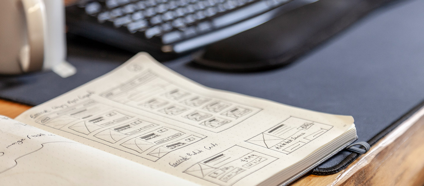 Email Design Layouts on a notepad